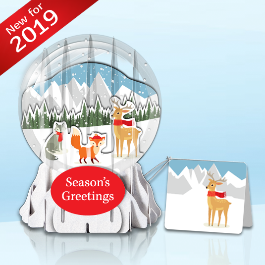 "Winter Forest 3"" Globe Greeting Card (TEST)"