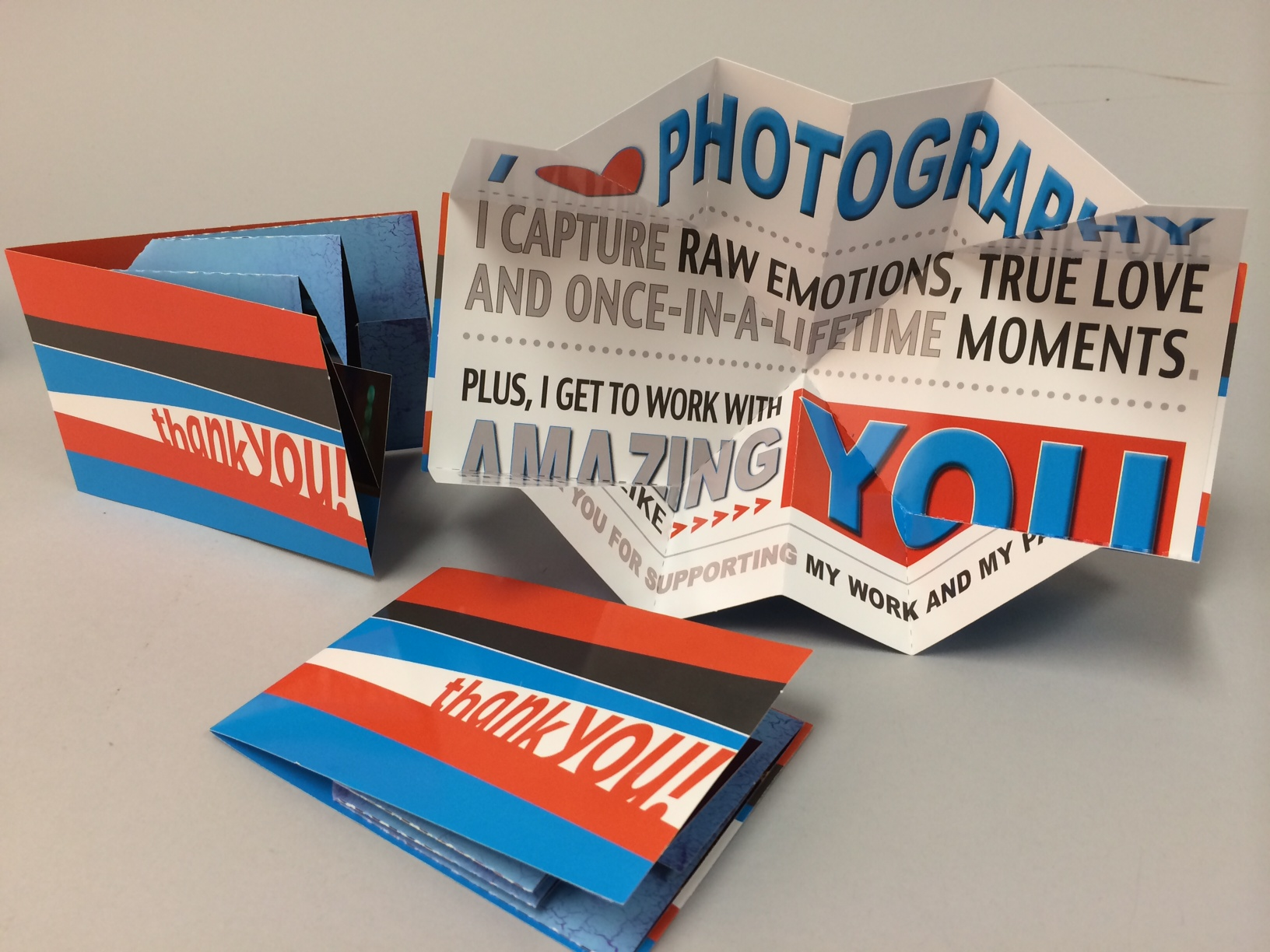 Patti Andre Photography uses Small Exploding Page as a Dimensional Thank You