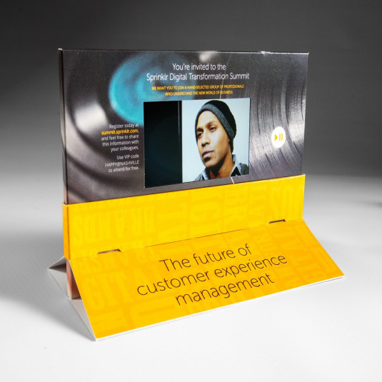 Push down on the sleeve and your video begins to play, video is the most effective direct mail marketing