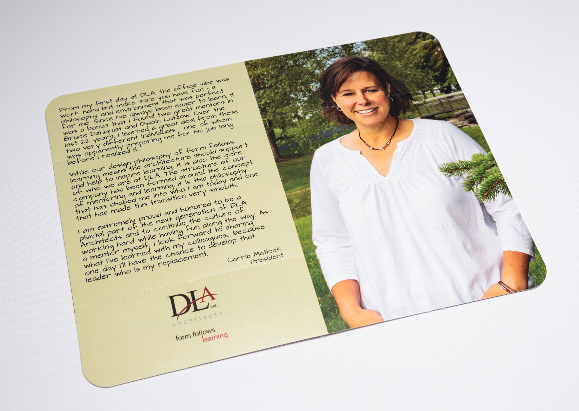 DLA Architects Shares Leadership Changes With Tablet Flapper Mailer