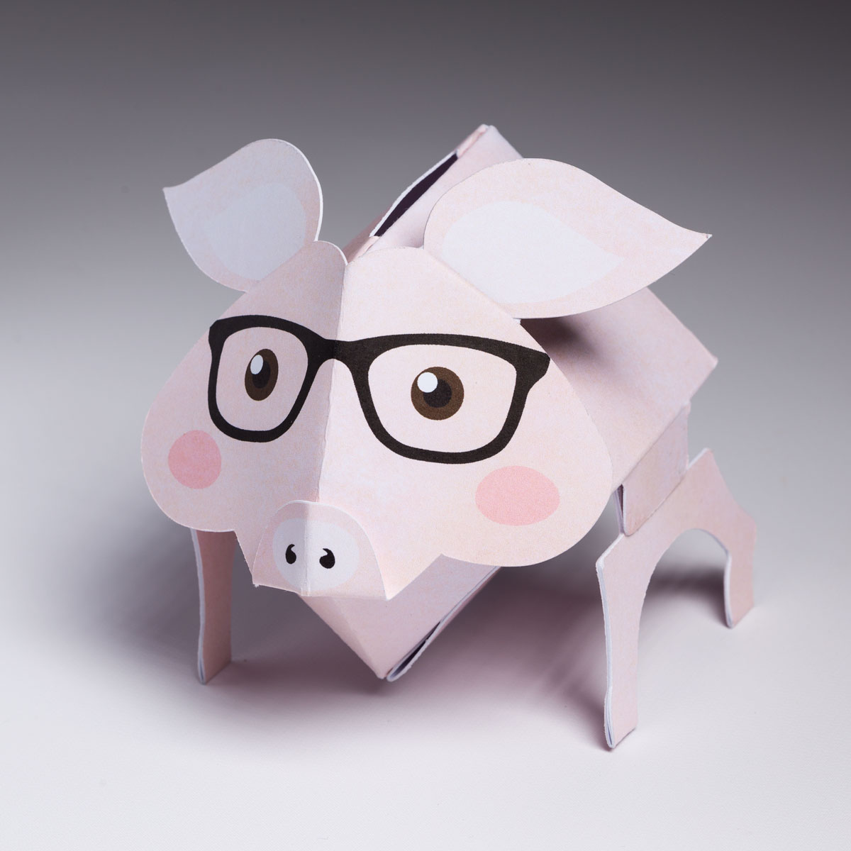 Pop Up Pink Pig with Black Glasses with Piggy Bank Hole