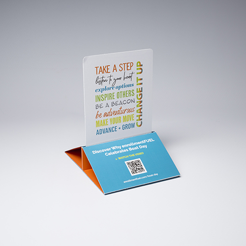 Create an interactive reminder with our center pop direct mailer. Sure to become a functional desktop accessory