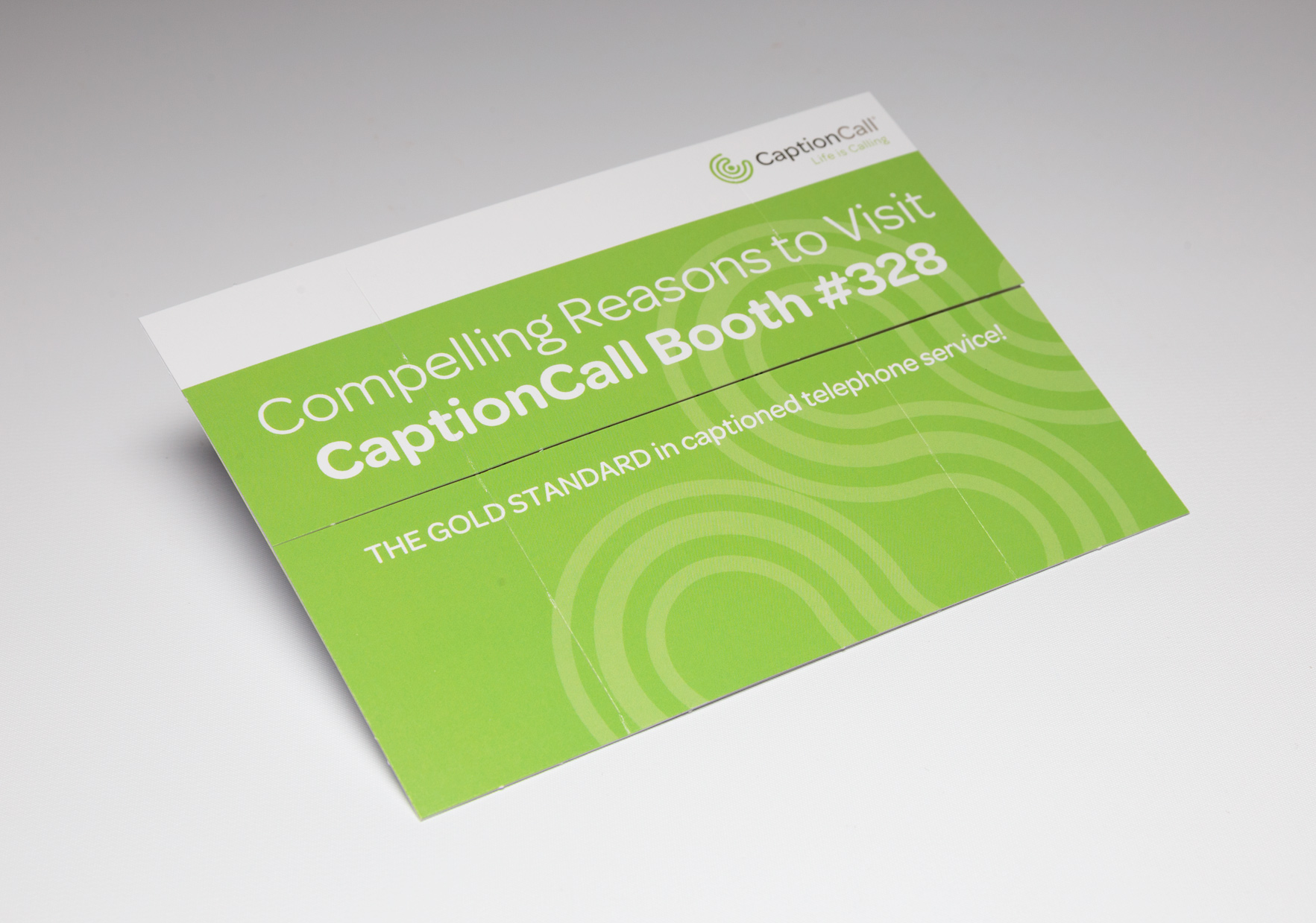 Caption Call Trade Show Handout Grabs Attention Using the Medium Flapper