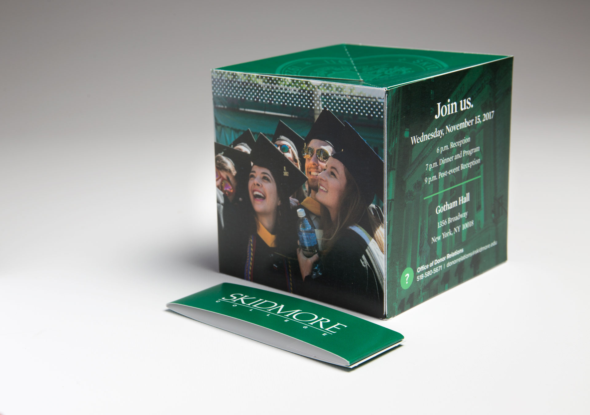 "Skidmore College Uses the 4.25"" Pop Up Cube to Send a Fundraising Gala Invitation that ""Pops"""